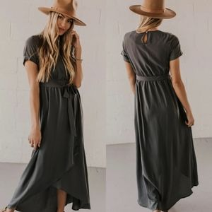 Roolee taylor jane gray wrap maxi dress